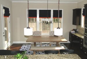 Custom Flat Roman Shades with Accent Band