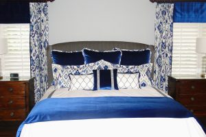 Custom Blue Velvet Master Bedroom
