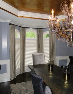 Brown Drapery Panel in Dining Room